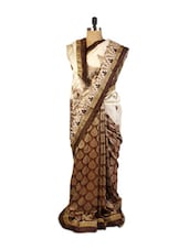 Graceful White And Brown Art Silk Saree With Weave Work, Patch Border, Resham Embroidery And Matching Brown Blouse. - Drape Ethnic