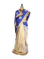Rich Blue And Off-White Art Silk Saree Patch And  Resham Embroidered Border And A Matching Golden  Blouse. - Drape Ethnic