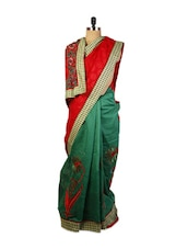 Fine Combination Of Red And Green  Benarasi Cotton Saree With Resham Embroidered Motifs , Raw Silk Green Blouse. - Drape Ethnic