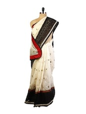 Off-White And Black Saree - Drape Ethnic