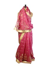 Beautiful Pink Benarasi Cotton Saree With Resham, Zari Embroidery And A Beige Raw Silk Blouse Piece. - Drape Ethnic
