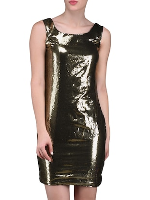 Golden Sequined Bodycon Party Dress