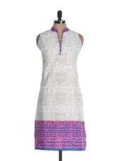 Off-white Cut Sleeved Kurta With Warli Prints - Awesome