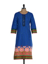 Blue Full-sleeved Kurta With Ethnic Prints - Awesome