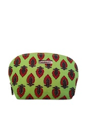 Light Green Printed Cosmetic Pouch - Haute Potli