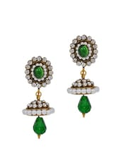 Crystal Studded Green Earrings - Maayra