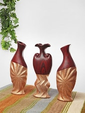 Crimped Brown And Gold Ceramic Vases(Set Of 3) - Home Stopper