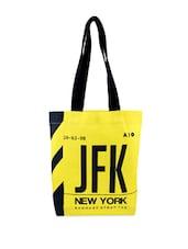 Black And Yellow Printed Tote Bag - Be... For Bag