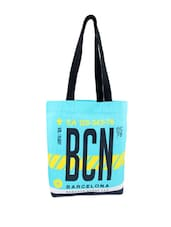 Sky Blue, Yellow And Black Printed Tote Bag - Be... For Bag