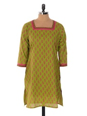 Green And Pink Printed Kurta - Jaipurkurti.com