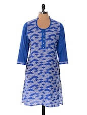 Blue And White Printed Kurta - Jaipurkurti.com