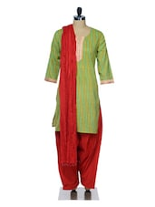 Green And Red Printed Suit Set - Jaipurkurti.com