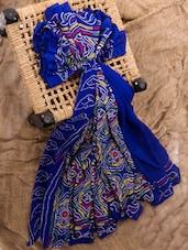 Royal blue georgette printed saree