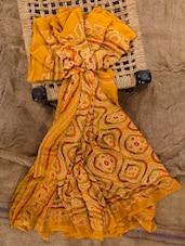 Yellow Georgette Printed Saree - Jaipurkurti.com