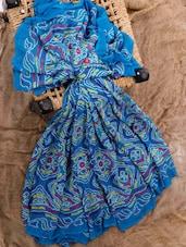 Blue Georgette Printed Saree - Jaipurkurti.com