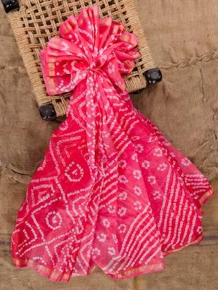 Pink silk bandhej saree
