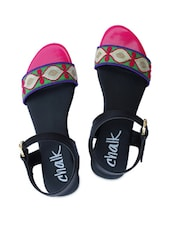 Green, Pink And Black Strappy Sandals - Chalk Studio