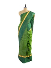 Amazing Check Pattern Green Silk Saree - Pothys