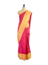 Amazing Pink Silk Saree With Gorgeous Golden Border - Pothys