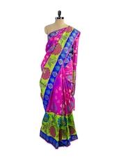 Floral Print Designer Dupion Silk Saree - Pothys