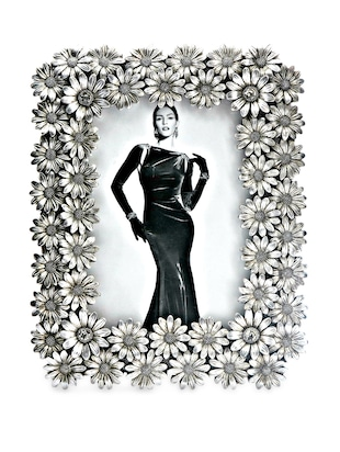 Antique Silver Floral Photo Frame