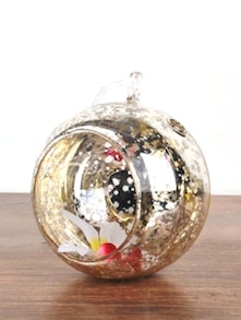 Gold Speckled Hanging Small Glass Sphere
