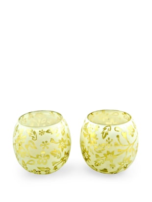 White and Gold Floral Tealight Holder (Set of 2)