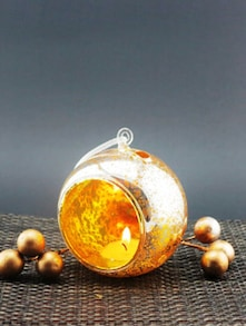 Gold Speckled Hanging Glass Tealight Holder (Small)