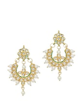 Kundan And Pearl Embellished Earrings - Ruby Raang