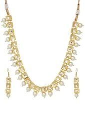 Kundan And Faux Pearl Necklace Set - Ruby Raang