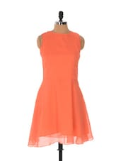 Coral Frilly Dress With A Tie-up Bow On Back - Xniva