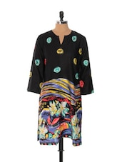 Black Full-sleeved Kurta With Multi-colour Prints - Desiblush