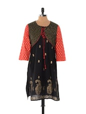 Black And Red Jacket Style Kurta - Desiblush