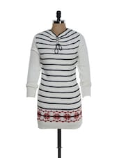 White Woolen Top With Stripes - TAB91