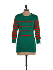 Trendy Green And Red Woolen Top With Striped Sleeves - TAB91