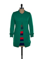 Green Front Open Woolen Top With A Blue And Yellow Stripes - TAB91