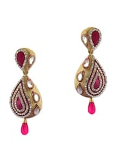 Dazzling Golden Earrings With Stunning Kundan And Pink Crystals - Rich Lady