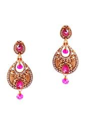 Stunning Antique Gold Earrings With Pink Crystals - Rich Lady