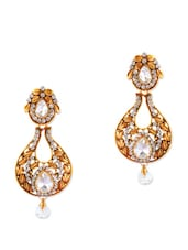 Antique Gold Earrings With White Stones - Rich Lady