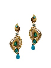 Stunning Antique Gold Earrings With Green Crystals - Rich Lady