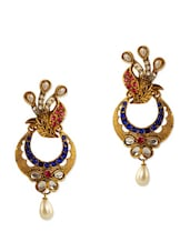 Lovely Colourful Stone Encrusted Antique Gold Earrings - Rich Lady