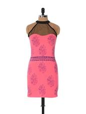 Pink Bodycon Dress With Blue Prints - Xniva