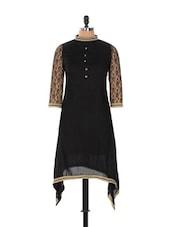 Black Asymmetrical Kurta With Lacey Sleeves - Desiblush
