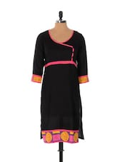 Black Kurta With Yellow And Pink Prints - Desiblush