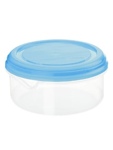 Clear and Blue Round Storage Container