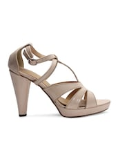 Beige Faux Leather Strappy Heels - By