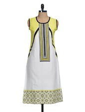 White And Yellow Printed Kurti - Lalana