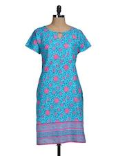 Blue And Pink Printed Kurti - Lalana