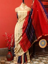 Tri-coloured Classic Resham Saree - Cotton Koleksi