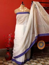 Ethereal White Resham Saree - Cotton Koleksi